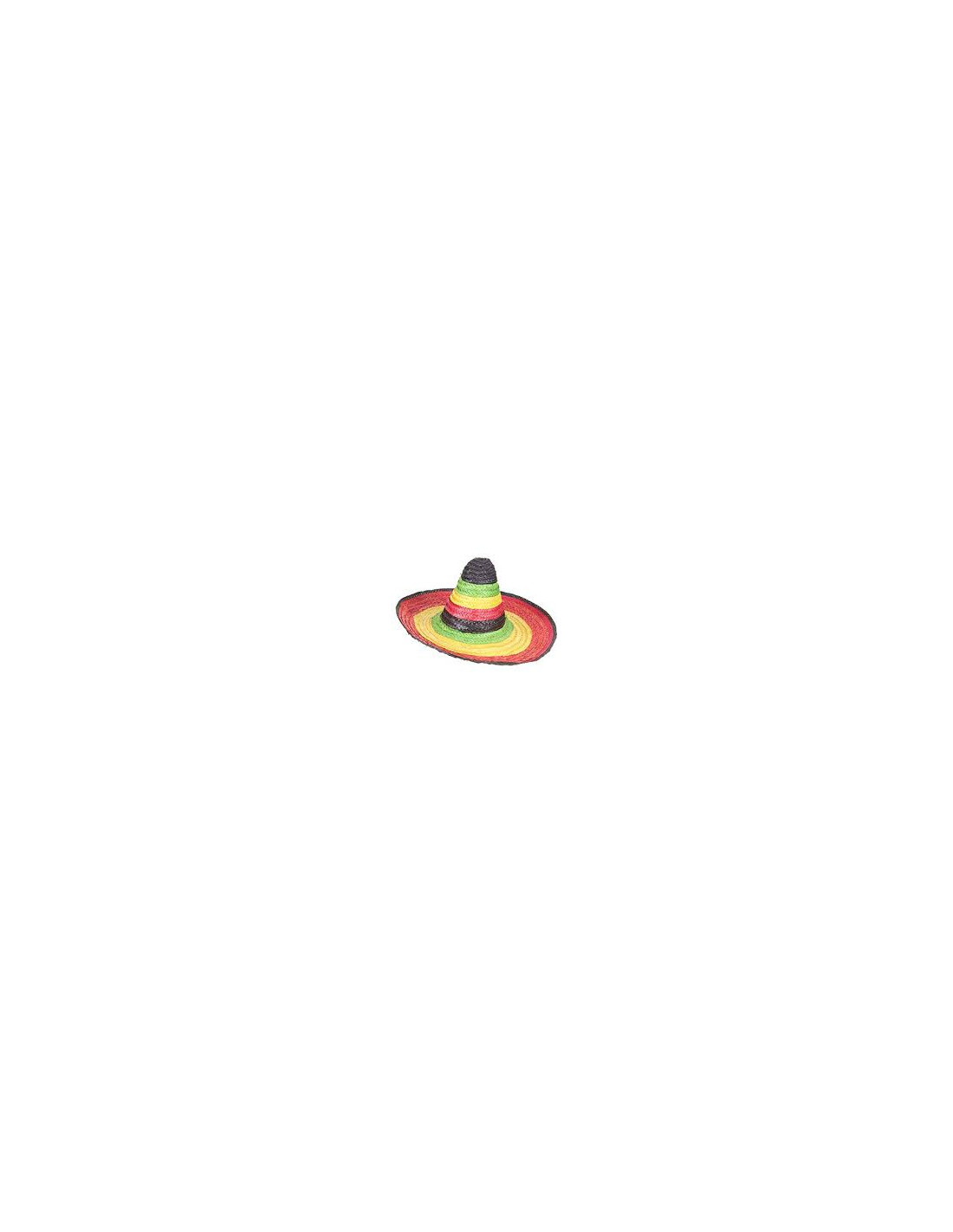 Sombrero Mexicain multicolore bordure et pointe noire adulte Cod.156084